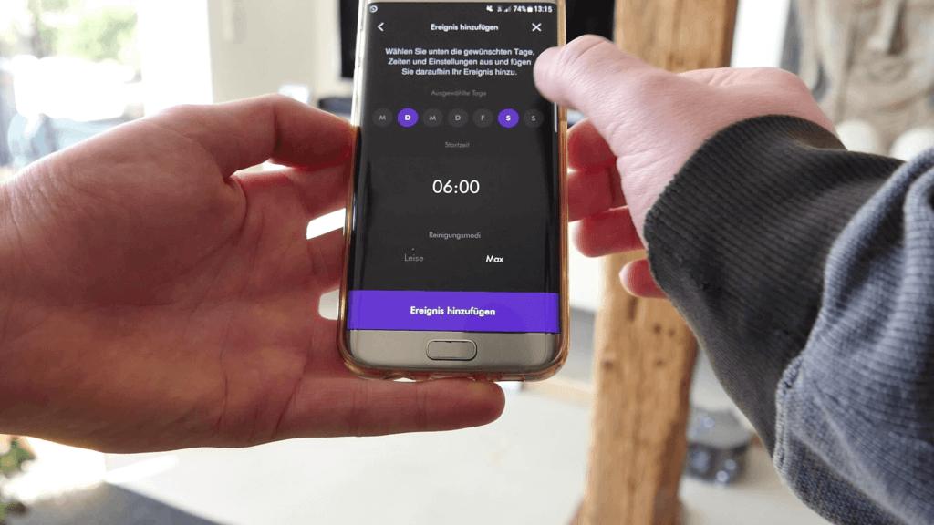 Die App des Dyson 360 Eye ermöglicht die Programmierung des Geräts.
